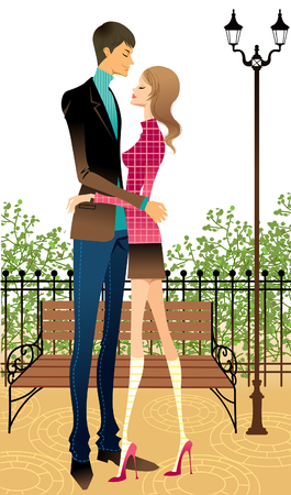 Side view of couple embracing at park Illustration