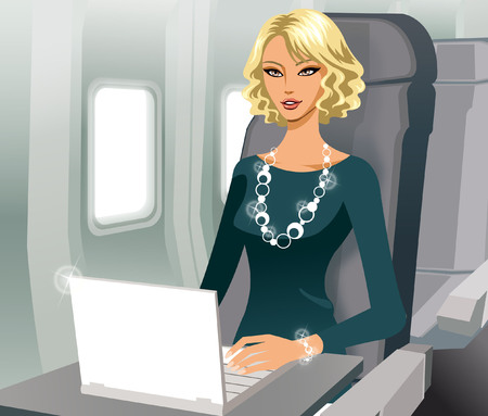 Business woman working with laptop in airplane Illustration