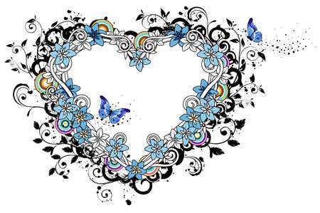 Heart shape with flora design
