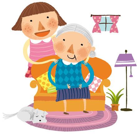 Retrato de la abuela con su nieta Vectores