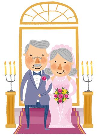period costume: portrait of elderly Groom & bride