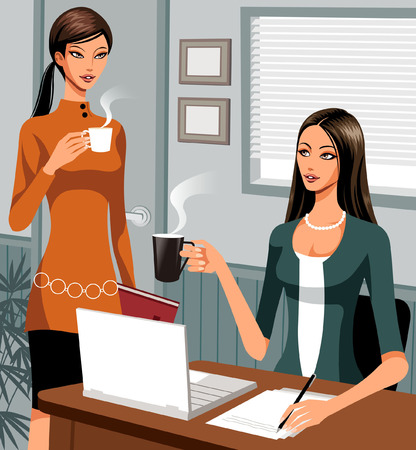 illustrating: A two woman having cup of tea in office