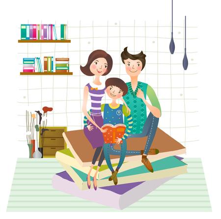 Family reading book together Ilustração
