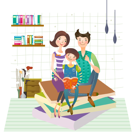 Family reading book together Banco de Imagens - 78835294