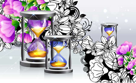 Hourglass with flora design
