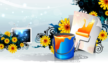 Paint can and paint roll with flora design Banco de Imagens - 78835303