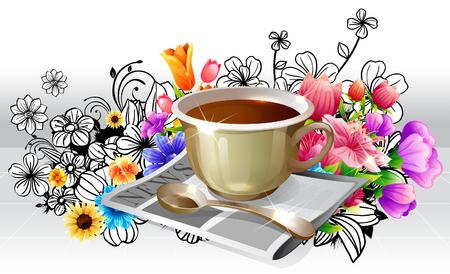 Tea Cup and newspaper with flora design Ilustração