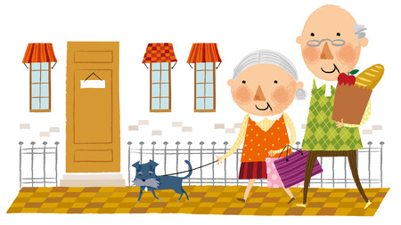 Elderly couple arriving home from shopping