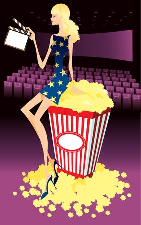 Profile of woman sitting on carton of popcorn, holding film slate Illustration