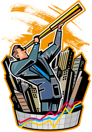 Side view of businessman holding telescope Illustration