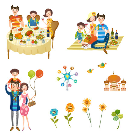 Holidays with family icon set Ilustração