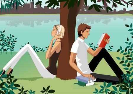 Woman listening music and man reading book under tree Illustration