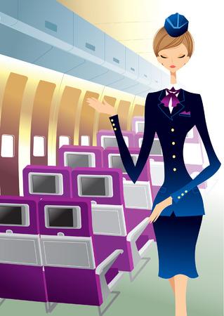 airhostess: Airhostess standing in aero plane