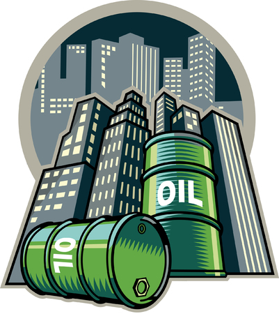Oil drum with building in background Illustration