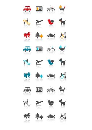 Mode of transportation set icon