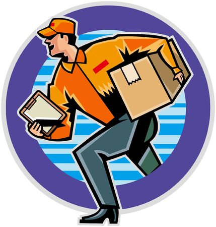 Side view of man delivering parcel