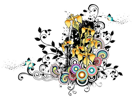 Yellow Orchids flowers and design element Banco de Imagens - 78833193