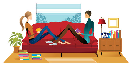 Couple reading books on sofa
