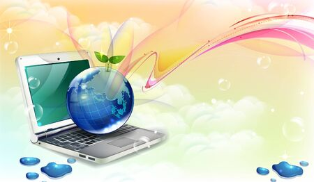 Computer laptop vector with globe Illustration