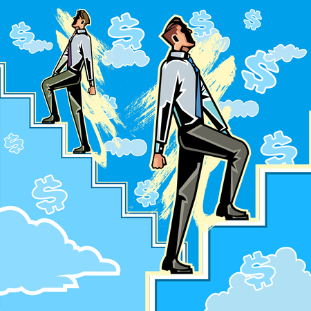 staircases: Business people climbing steps in sky
