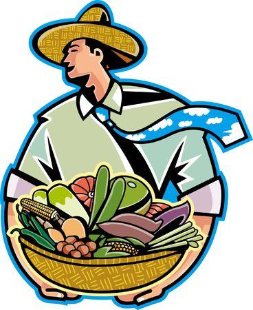 basketful: Businessman holding basketful vegetables Illustration