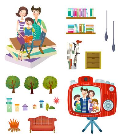 Family and home interior set