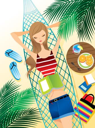 Teenager girl relaxing on hammock Illustration
