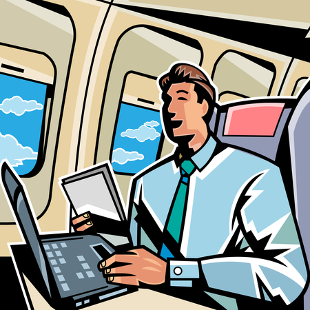Businessman working on a laptop in an airplane Illustration