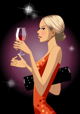 side viewing: Profile of woman holding wine glass Illustration