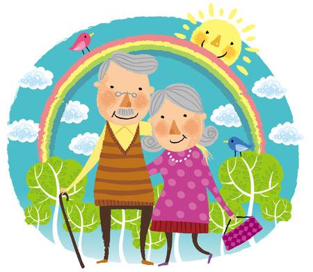 Happy elderly couple portrait