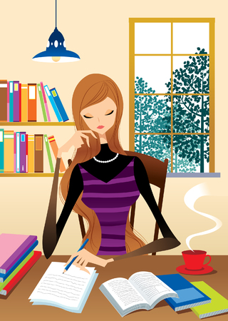 Teenager sitting at table studying Illustration