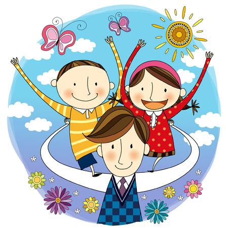 Père portant des enfants sur le dos Banque d'images - 78833265
