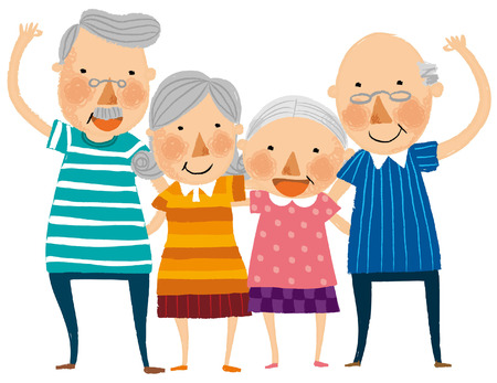 Group of elderly couple Illustration