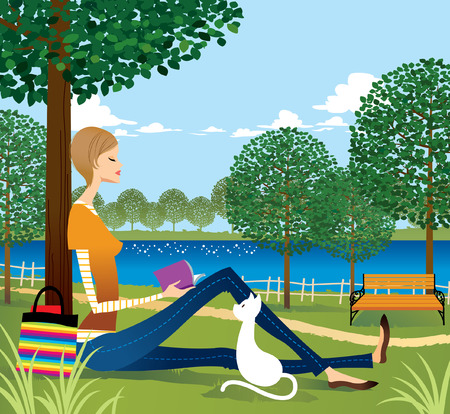 Woman sitting under tree, reading book Vectores