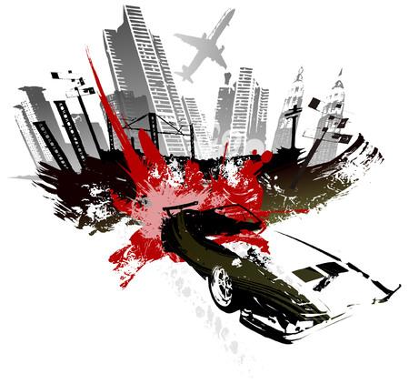 Bomb blast over the city Illustration