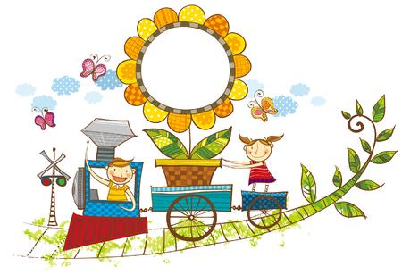 Children on train carrying flower plant