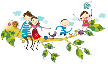 Portrait of happy family sitting on branch of tree Illustration