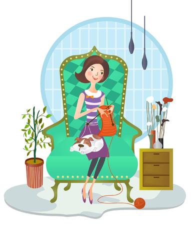 Woman weaving sweater Illustration