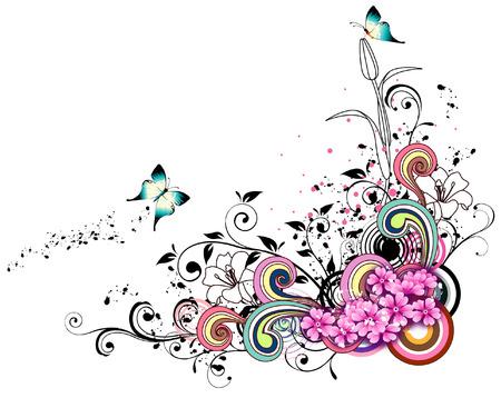 label with flora design Иллюстрация