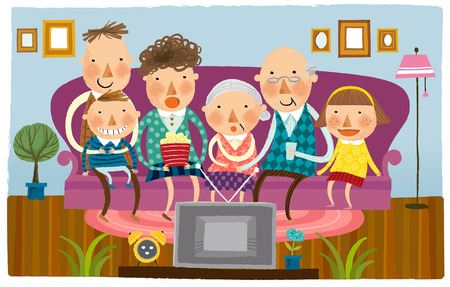집에서 텔레비전을 시청하는 대가족