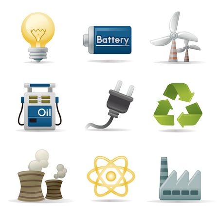 creative arts: Power and energy icon set