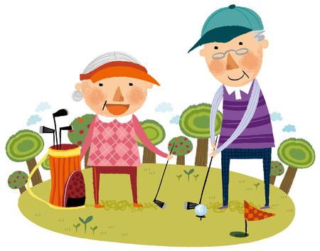 Elderly couple playing golf