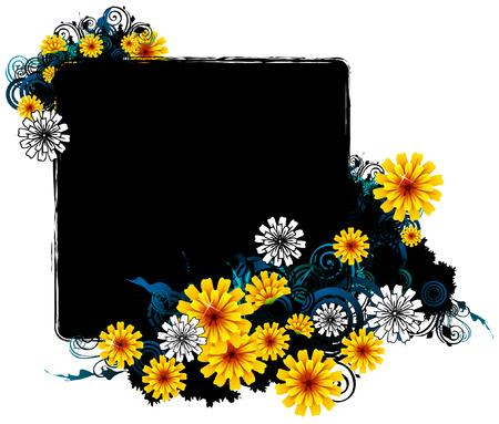 square frame with flora design Ilustração