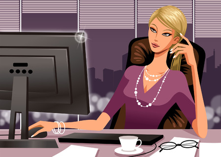 Businesswoman Using Laptop Computer Illustration