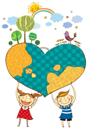 creative arts: Children holding earth in heart shape