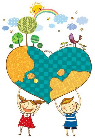 Niños que sostienen la tierra en forma de corazón Foto de archivo - 78835567