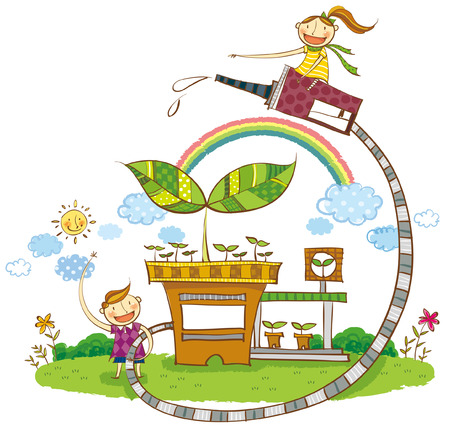greenery: Children watering the Plant