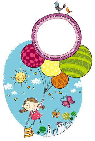Girl holding balloons in her hand Illustration