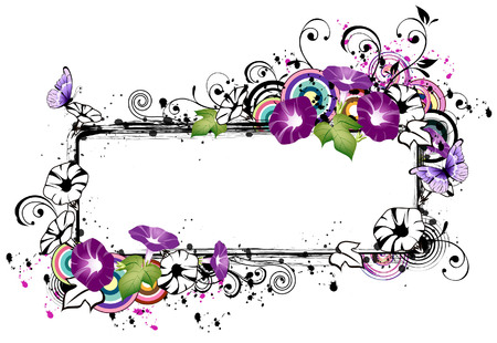 Rectangular frame with morning glory flower Illustration