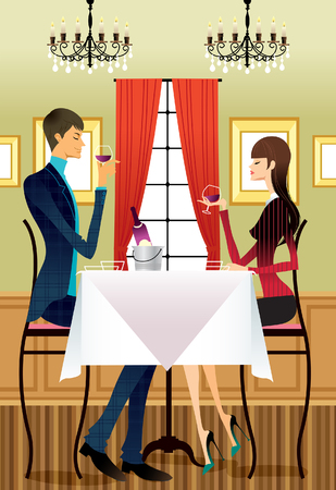 it is full: Couple drinking wine at table
